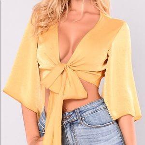 Fashion Nova Silky tie crop top